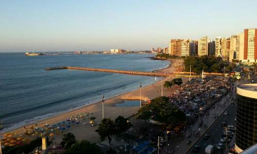 Hotel Luzeiros, à beira mar da praia do Meireles - Fortaleza vista